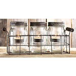 Rustic Metal and Mason Jar Tealight Candle Runner