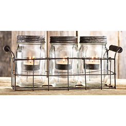 Rustic Metal and Mason Jar Tealight Candle Runner