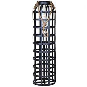 Dark Metal Cage Lantern, 34 in.