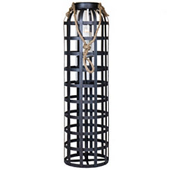Dark Metal Cage Lantern, 34 in.