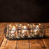 Three Square Votive Holders With Star Metal Runner