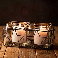 Two Square Votive Holders With Star Metal Rack