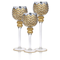Silver and Gold Chevron Charismas, Set of 3
