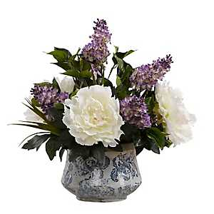 Peonies And Lilac In Blue And White Ceramic Vase