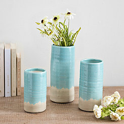 Light Blue Cylinder Vases, Set of 3