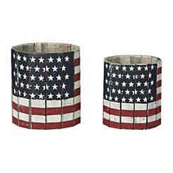 American Flag Round Wooden Planters, Set of 2