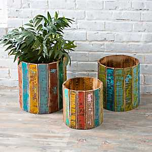 Recycled Round Wooden Planters, Set of 3