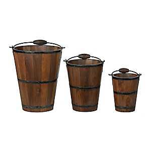Wooden Buckets With Metal Handles, Set of 3