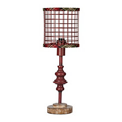 Red Metal Edison Bulb Table Lamp with Plaid Trim