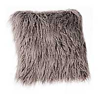 Gray Shag Mongolian Fur Pillow