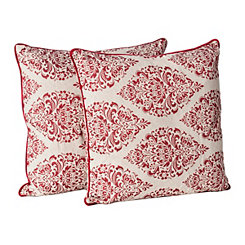 Red Jacquard Diamond Pillow, Set of 2