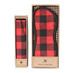 Red Plaid Pill Case and Sleep Mask Set