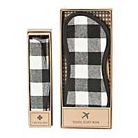 White Plaid Pill Case and Sleep Mask Set