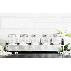 Rustic Galvanized Mason Jar Candle Runner