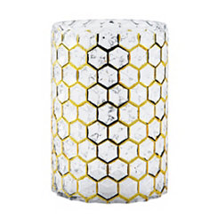 Gold Geometric Glass Hurricane, 7 in.