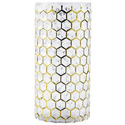 Gold Geometric Glass Hurricane, 10 in.