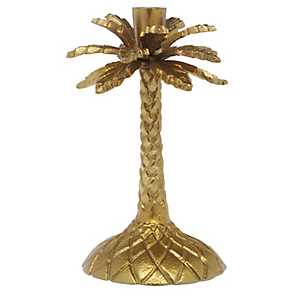 Brass Palm Tree Candle Holder, 9 in.