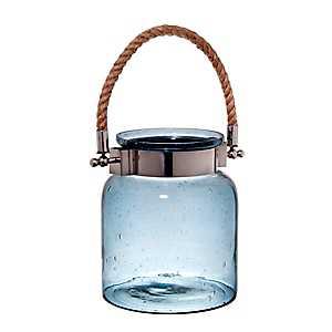 Smoke Seed Glass Jar Lantern, 9 in.