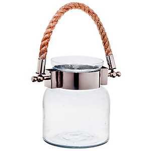 Clear Port Glass Jar Lantern, 6.5 in.