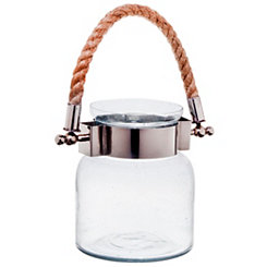 Clear Port Glass Jar Lantern, 6.5 in.