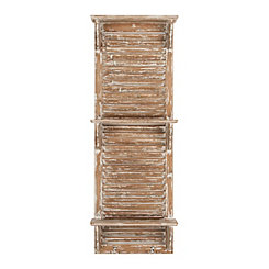 Distressed Natural Wood Shutter Wall Shelf