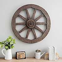 Wagon Wheel Wood Wall Plaque