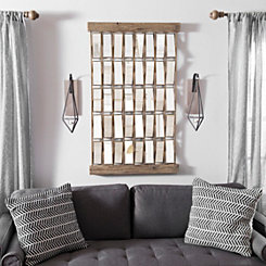 Mirrored Waves Wood and Metal Wall Plaque