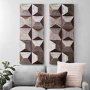 Gray Pyramids Wooden Wall Art