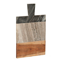 Marble and Wood Paddle Cutting Board