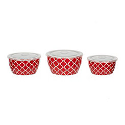 Red Trellis Ceramic Storage Bowls, Set of 3