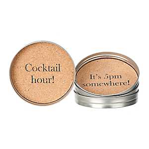 Happy Hour Cork Coasters, Set of 4