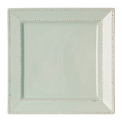 Aqua Beaded Edge Square Dinner Plate