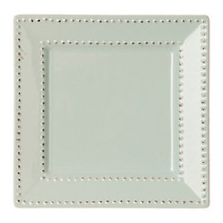 Aqua Beaded Edge Square Salad Plate