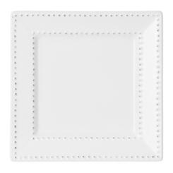 White Beaded Edge Square Salad Plate
