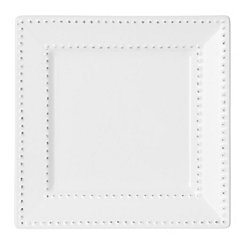 White Beaded Edge Square Salad Plate