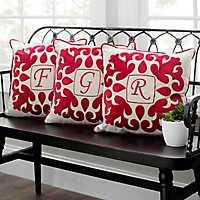 Red Velvet Applique Monogram Pillows
