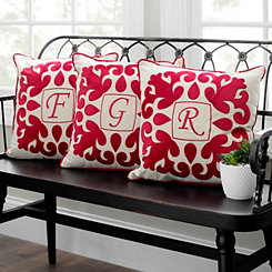 Red Velvet Applique Monogram Pillows