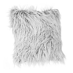 Gray and White Mongolian Fur Pillow
