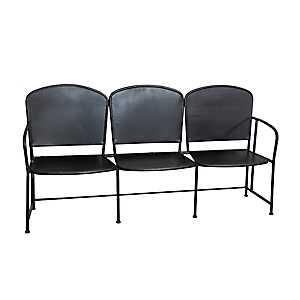 Black Three-Person Outdoor Bench