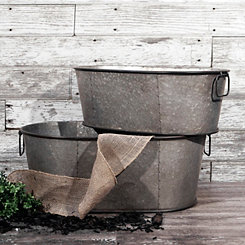 Galvanized Metal Planter Bins, Set of 2