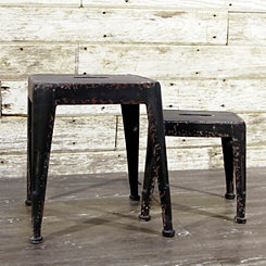Black Metal Stools, Set of 2