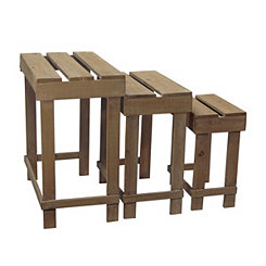 Wooden Planter Tables, Set of 3