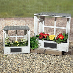 White Chalkboard Window Lattice Planters, Set of 2