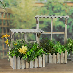 Window And Picket Fence Planters, Set of 2