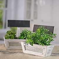 White Chalkboard Sign Planters, Set of 2