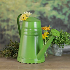 Distressed Green Metal Watering Can