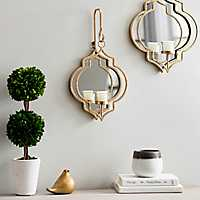 Gold Quatrefoil Mirrored Wall Sconce, 17.5 in.