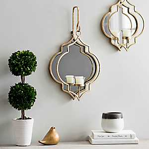 Gold Quatrefoil Mirrored Wall Sconce, 19.5 in.