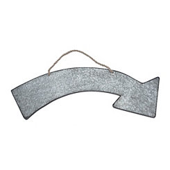 Curved Arrow Metal Hanging Plaque
