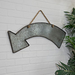 Curved Arrow Metal Hanging Plaque